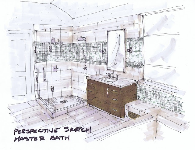 modern bathroom sketch