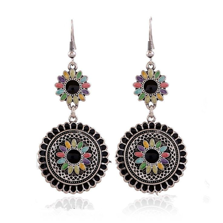 Multi Color Enameled Flower Earrings For Women Vintage Fashion Jewelry Antique Silver Plated Long Bohemian Drop Earring