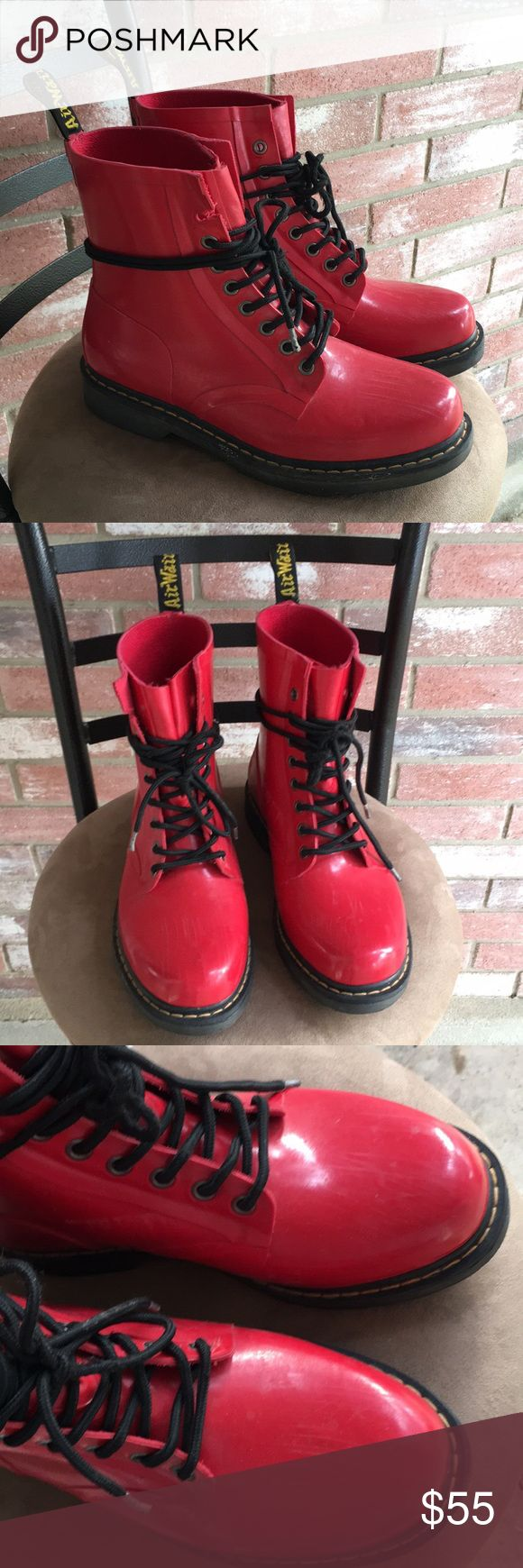 Dr. Martens Drench Wellington Boots Size 11 women's. Preowned condition. Great pair of stylish boots for the snow and rain. The top eyelet on the right boot is missing the metal ring, not at all that noticeable when wearing them (please see photos) Dr. Martens Shoes Winter & Rain Boots