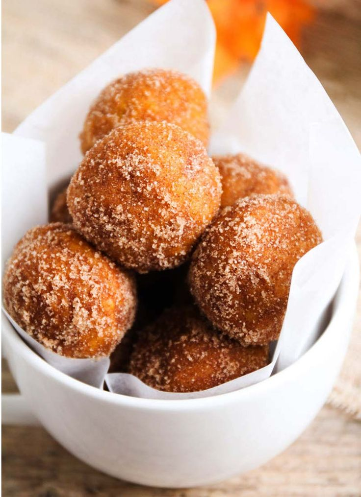 Pumpkin Poppers Recipe. The Pumpkin Poppers are coated in sugar and cinnamon, which would be easy to get on your face while eating, so it's got to be one of