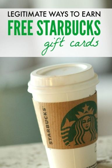 How to earn FREE Starbucks Gift Cards! I've used all of these websites and it's a great way to get FREE Coffee!