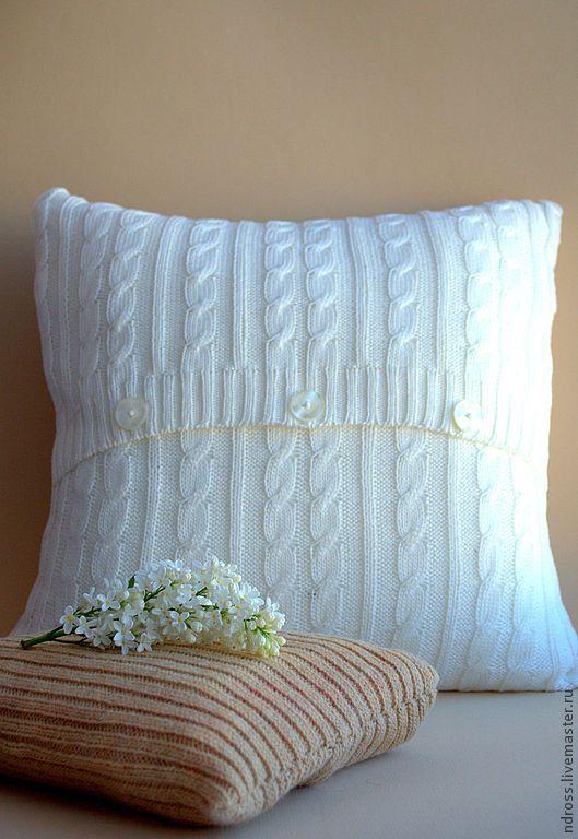 вязаная наволочка, knitted cushion, knitted pillow case