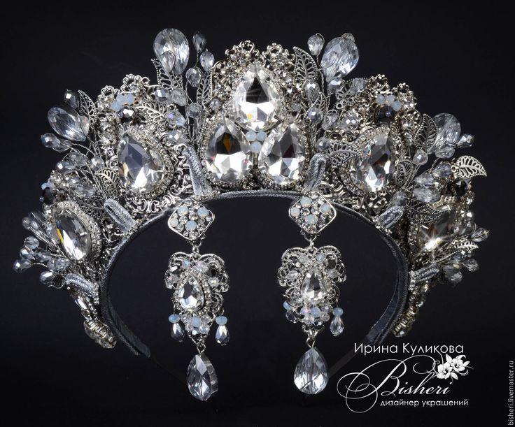 Купить Свадебные короны - серебряный, корона, тиара, для невесты, свадебное украшение, свадебная корона