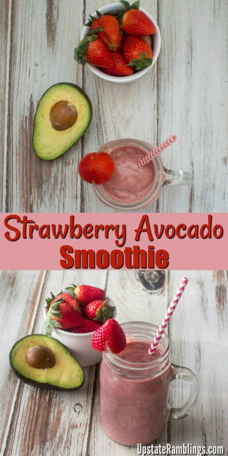 A delicious dairy free smoothie recipe made with avocado and strawberry. It is rich and creamy thanks to the avocado and banana. Try this healthy avocado strawberry smoothie recipe for breakfast or a quick snack. #smoothies #beverage #breakfast