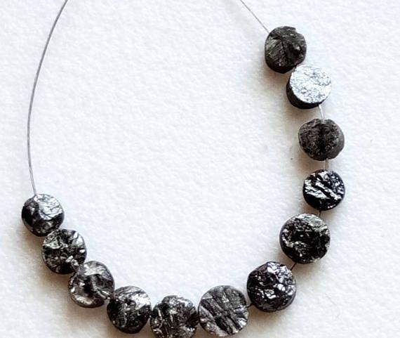 10 Pcs Dark Grey Button Shaped Raw Diamonds 3-3.8mm Natural