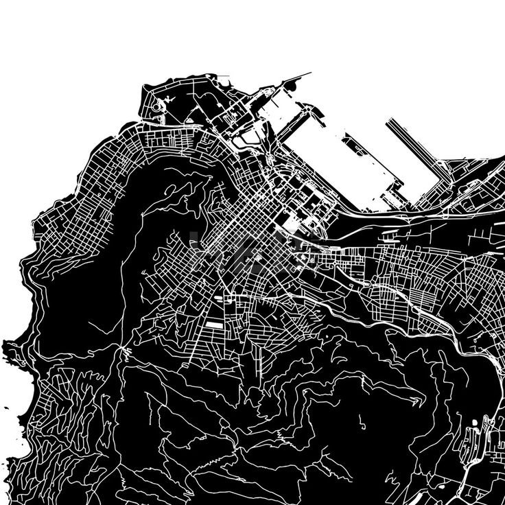 Cape Town, South Africa, downtown vector map. Art print pattern. White streets, railways and water on black. Bigger bridges with outlines. This map w... ... #map #downloadable #background #vector #design