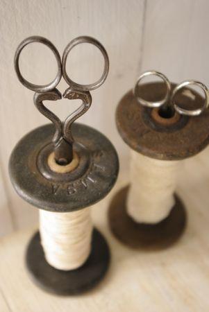 vintage spools and scissors