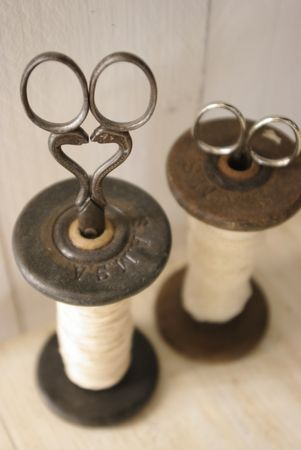 Vintage Metal Spools and Scissors ~