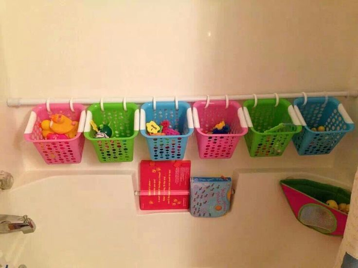 For bath toys. Buy Dollar Store baskets and attach them to a shower rod with shower curtain holders.