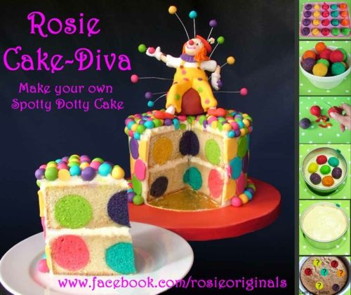 Spotty Dotty Cake Tutorial.  This is pretty cool way to do a cake....... For the bakers out there that want to impress others - here is the perfect cake! Who needs a birthday cake idea? Bake small various colored cake balls. After they are finished, place in white cake mix and bake as directed! The outcome is beautiful!!