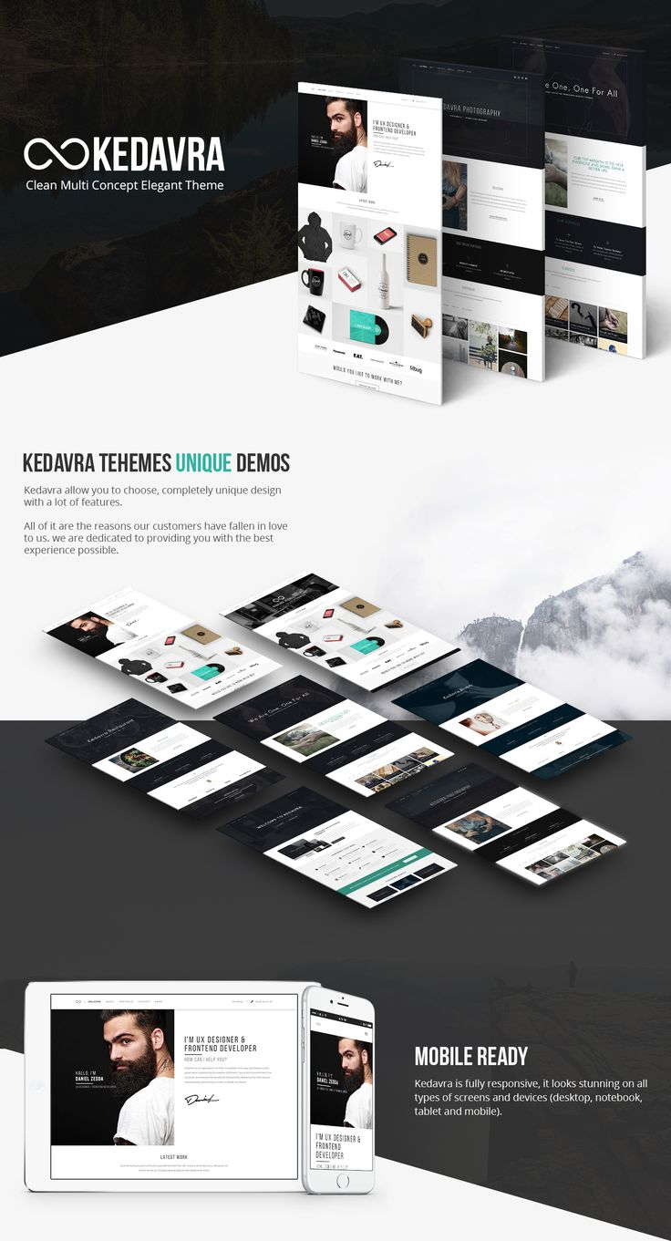 Kedavra is a clean and modern WordPress business theme that is perfect to promote your work in a very professional and pleasant way. It can be used to promote your own business or company, from agency, photographer, until your legal business.