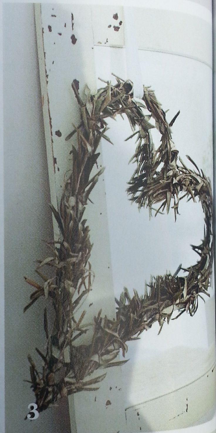 DIY Krans van ingedroogde olijftakken