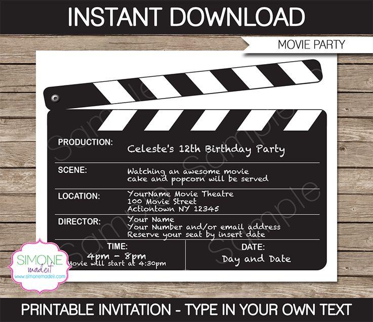 Movie Night Party Invitations | Clapboard | Birthday Party | Editable DIY Theme Template | INSTANT DOWNLOAD $7.50 via SIMONEmadeit.com
