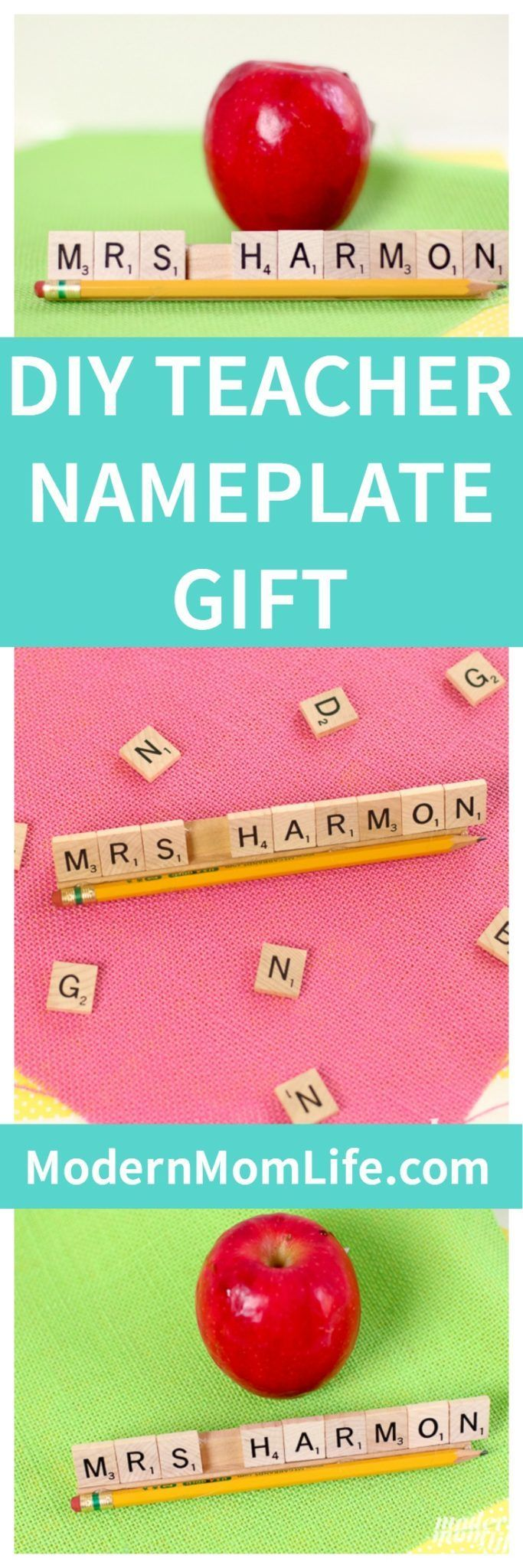 How to make a DIY Personalized Teacher Nameplate Gift using Scrabble tiles. A simple custom teacher gift that takes less than 10 minutes to make. My daughter's teacher loved her custom nameplate gift.  via @amodernmomlife