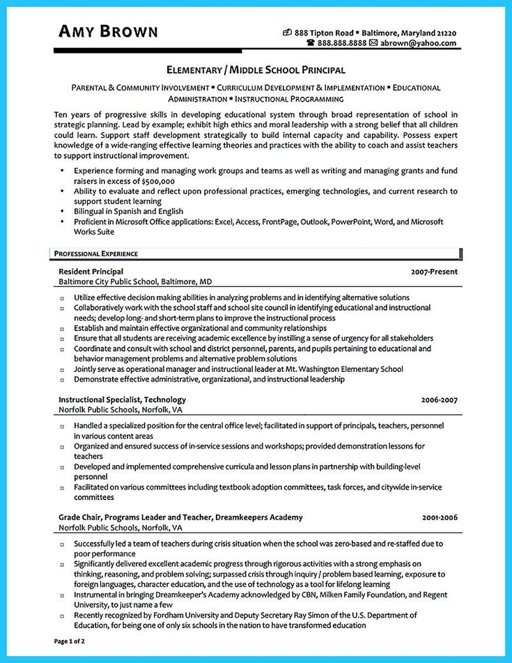 47 best Job images on Pinterest Teacher resumes, Resume - assistant principal resume