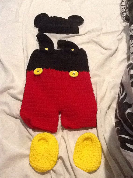 Crocheted baby boy Mickey Mouse outfit