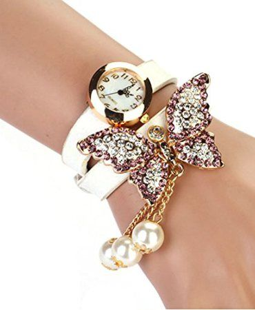 BesskyTM-2014-1PC-Women-Faux-Pearls-Rhinestone-Butterfly-Bracelet-Quartz-Analog-Watch-White-0