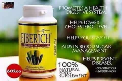 Anti-COLON Cancer Fiberich FIBERICH is a 100% psyllium seed husk that comes from the crushed seed of the plantago ovata plant. Psyllium is a natural fiber grain, not related to wheat, that yields 60-70 percent solubility. • PROMOTES A HEALTHY DIGESTIVE SYSTEM. Helps eliminate constipation and regulates bowel movement. Order now! If interested,kindly pm  John Carlo Turzar Global Exporter/Independent Distributor Royalè Business Club International Inc., Contact # +639062894092