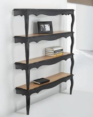 How cool is this? Cocktail tables made into wall shelves <3