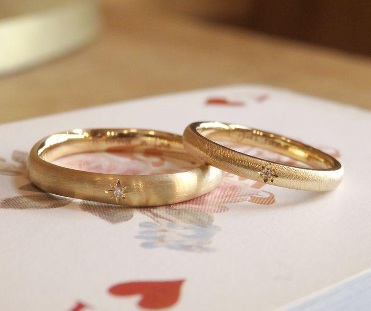星型の飾り留めがお揃い:結婚指輪 [マリッジリング,marriage,wedding,gold,ring,diamond,ダイヤモンド,ゴールド,オーダーメイド,ith,イズ]