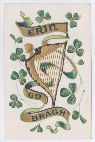 Erin Go Bragh Harp Shamrocks Gold 1908  Vintage Postcard