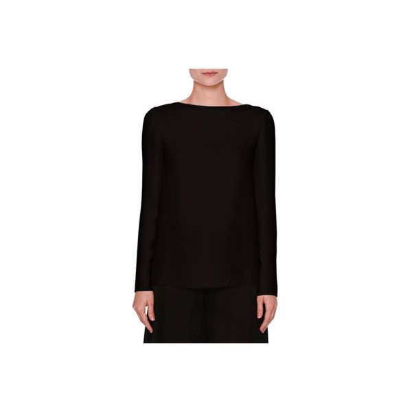 Valentino Long-Sleeve Cowl-Back Blouse featuring polyvore women's fashion clothing tops blouses black women's apparel tops boat neck tops bow top long sleeve blouse long sleeve boat neck top boat neckline tops