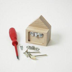 Image of Wooden wall hooks, Casas design, beech coloured wood, grey, Yellow and white or natural wood