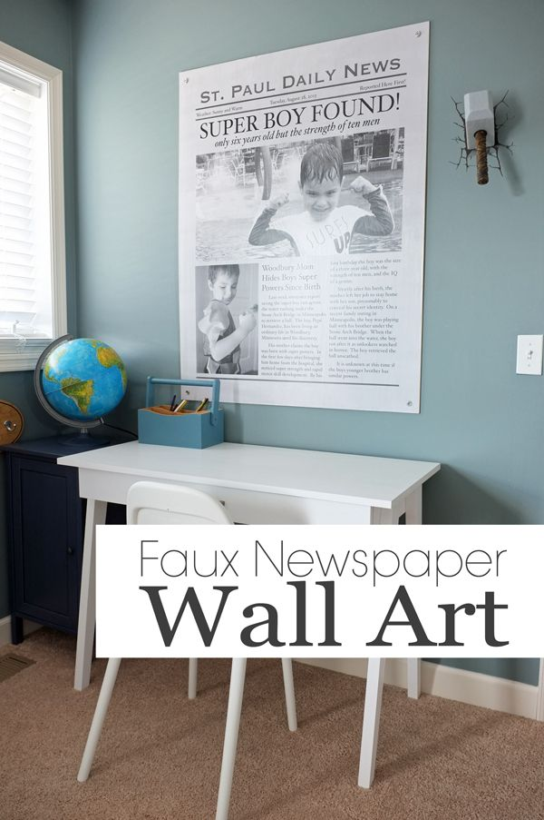 Make this Giant Faux Newspaper Wall Art for less than $15!!