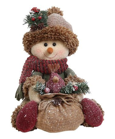 Another great find on #zulily! Sitting Snowman Holding Burlap Sack Figurine by GCA International #zulilyfinds