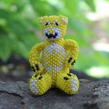 YELLOW CARE BEAR by HOLLIE BOOQUA - ZUNI NATIVE AMERICAN BEADWORK