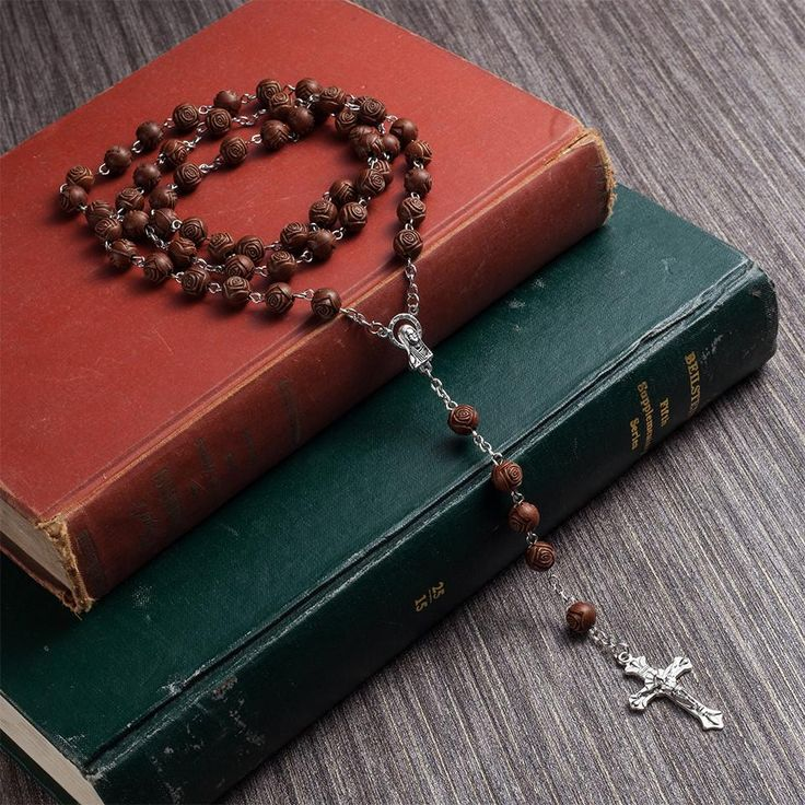 Wallmart.win Flower Wood Beads Strand Necklace Jesus Christ Cross Maria Pendant Necklace Long Link Chain Religion Jewelry Accessories Sales…