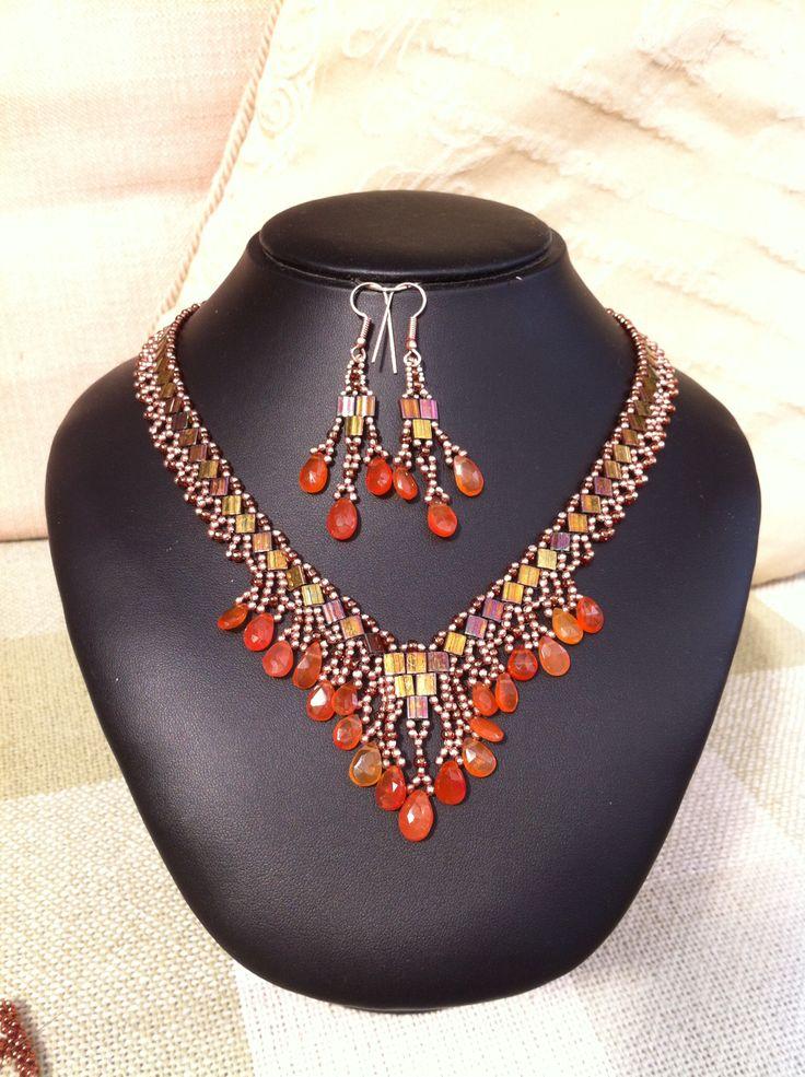 Carnelion and tila beads
