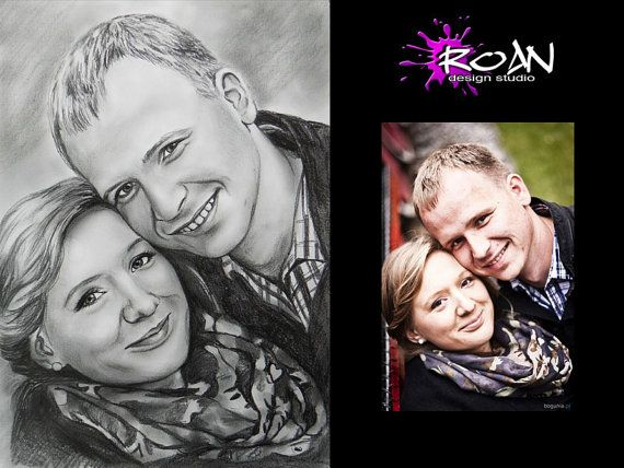 WEDDING PORTRAIT. Fantastic gift.  Commission pencil by RoanStudio, zł180.00