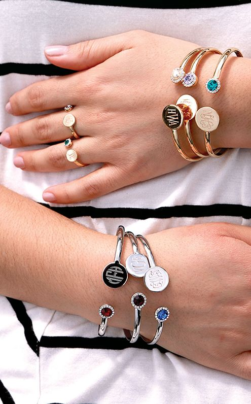 Birthstone monogram cuff bracelets-choose your birthstone now!