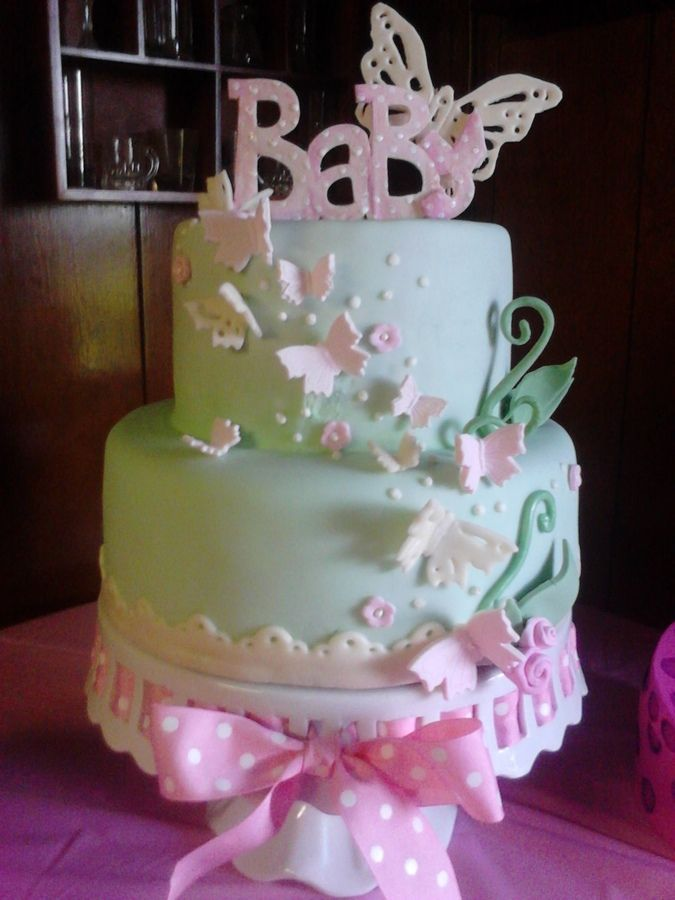 Butterflies decorations for cakes fondant baby shower for Baby shower cake decoration ideas
