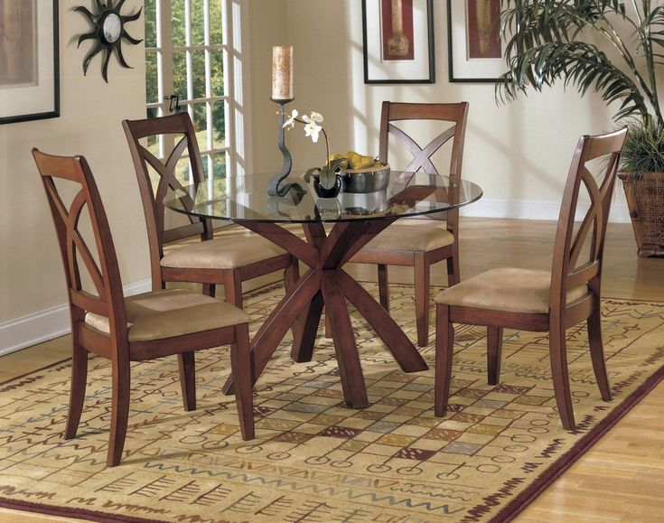 Round Dining Room Set On Sale Online With Glass Top Table And Wooden Floor  For Perfect Part 85