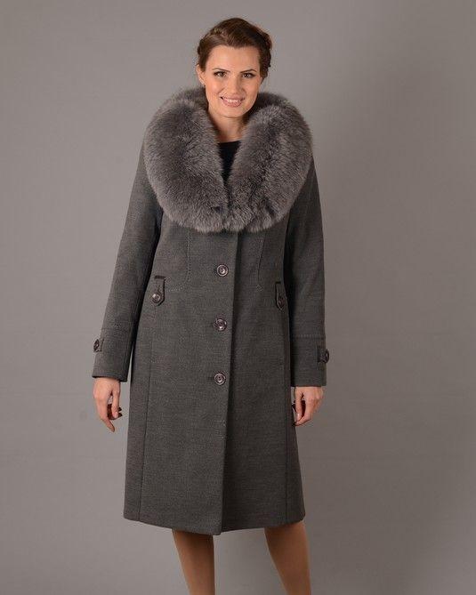 Пальто зима шаль серое 14109d3a6b40c