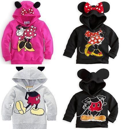 2013 ropa de bebé niños niñas boy suéter con capucha mickey minnie mouse sudaderas de dibujos animados para niños top, sin gastos de envío