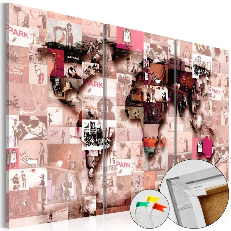 Obraz na korku - Banksy Graffiti Collage #mapart #domov #decor #korek #design #travel #pin #wall #corkboard #pink