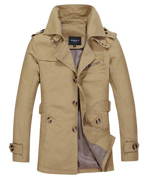Turn-Down Collar Epaulet Single Breasted Long Sleeve Trench Coat For Men