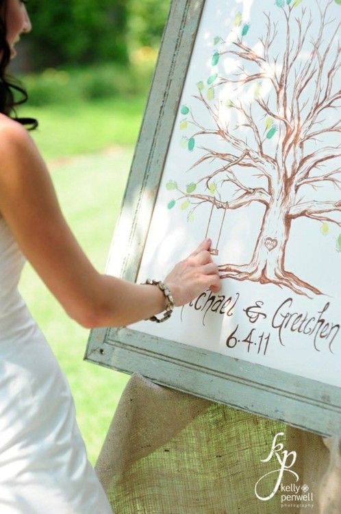 Every guest puts their fingerprint on the tree and signed their name. At the end of the ceremony, the bride and groom added their fingerprints on the swing hanging from the tree. Adorable, replacement for a guest book!