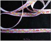 1 mètre de Ruban cupcake visage kawaii10mm : Rubans, ribbons biais pour bijoux par lilycherry