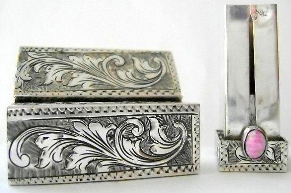 Rare Vintage 800 Italian Silver Repousse Lipstick by VintageTrue, $120.00