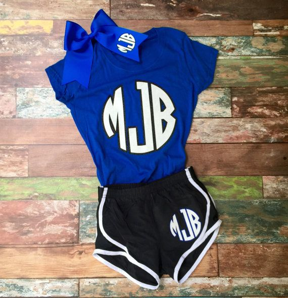 Cheer Camp Outfit Monogrammed Cheer bow by PoshPrincessBows1