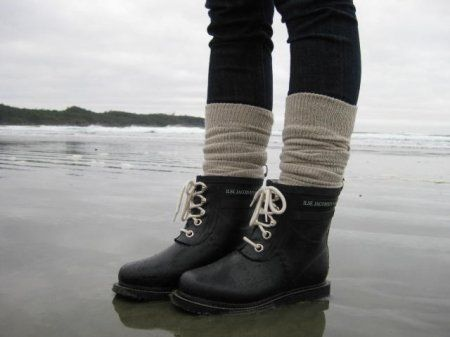 I also like the look of this short rain boot and the chunky socks.