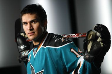 """Happy Birthday: Jonathan Cheechoo  July 15, 1980 - Jonathan Earl Cheechoo is a Canadian professional ice hockey right winger currently playing for the Peoria Rivermen of the American Hockey League. During the 2005–06 National Hockey League season, he led the NHL with 56 goals and won the Maurice """"Rocket"""" Richard Trophy. He was the first San Jose Sharks player to win the """"Rocket"""" Richard Trophy, awarded to the NHL player with the most goals in a season."""