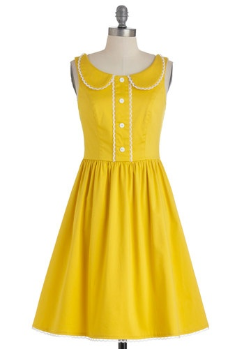 Dandelion Hearted Dress: Dandelions Heart, Dreams Closet, Collars Colette Sorbetto, Shops, Vintage Dresses, Dresses Modcloth Inspiration, Pretty Yellow, Clothing Fashion, Heart Dresses