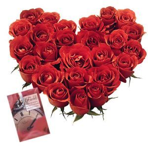 24 Red roses heart shape arrangement + 1 greeting card