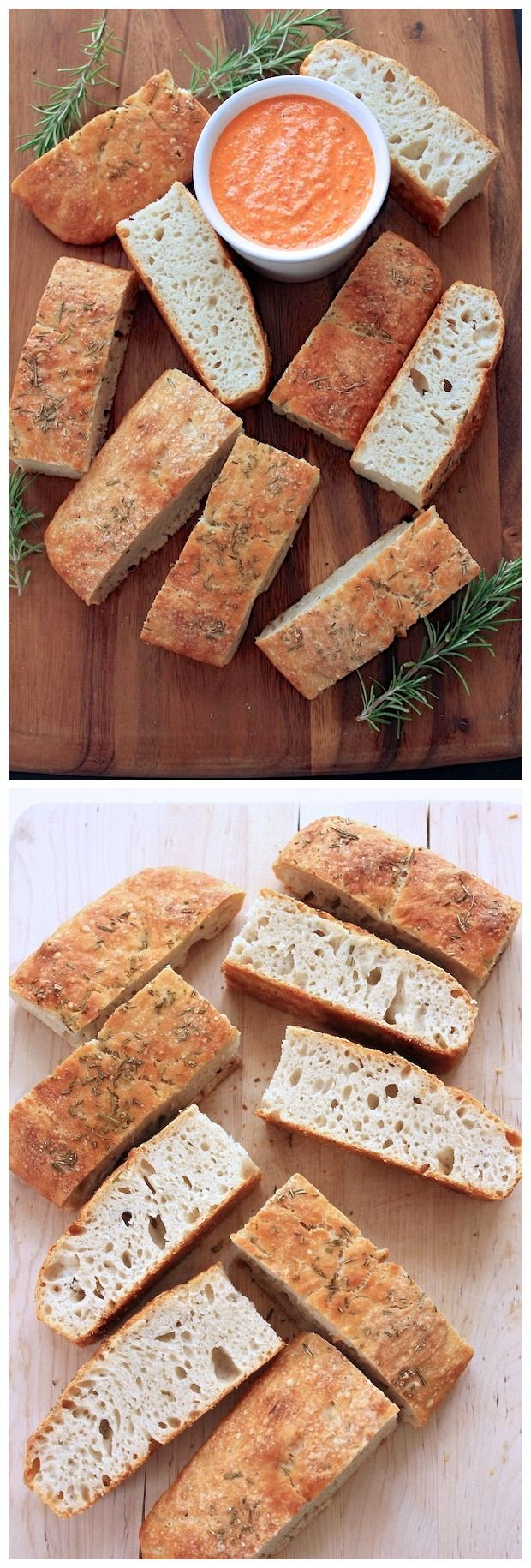 No Knead Foccacia with a Roasted Red Pepper, Feta and Walnut Dipping Sauce