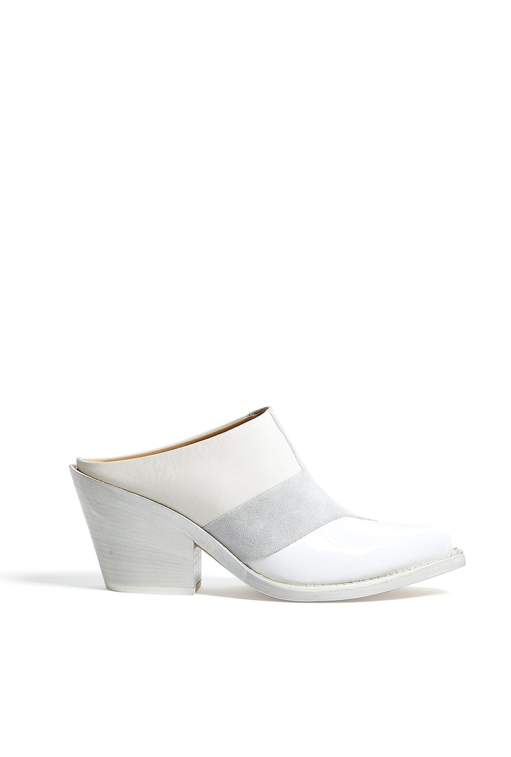 Dana Cuban Heel Patchwork Leather Mule by Acne